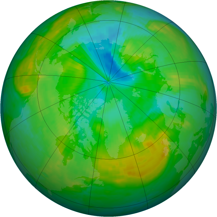 Arctic ozone map for 25 July 1988
