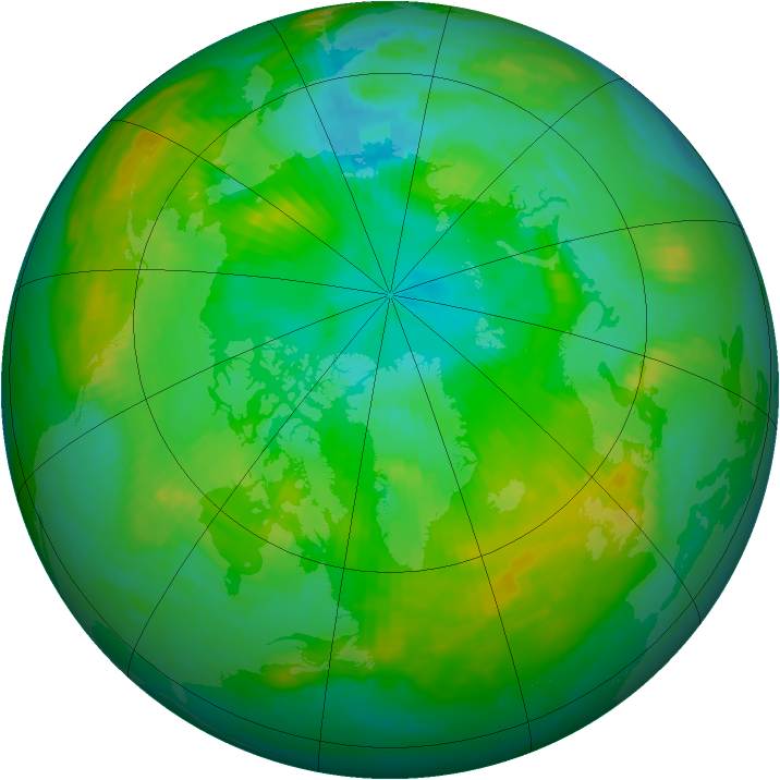 Arctic ozone map for 29 July 1988