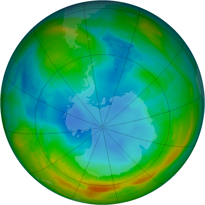 Antarctic ozone map for 29 July 1988