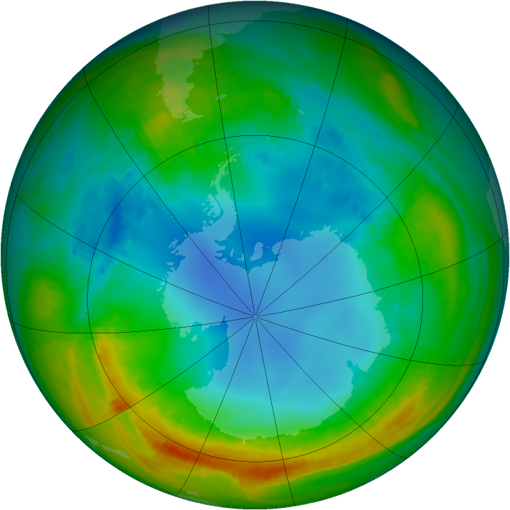 Antarctic ozone map for 30 July 1988