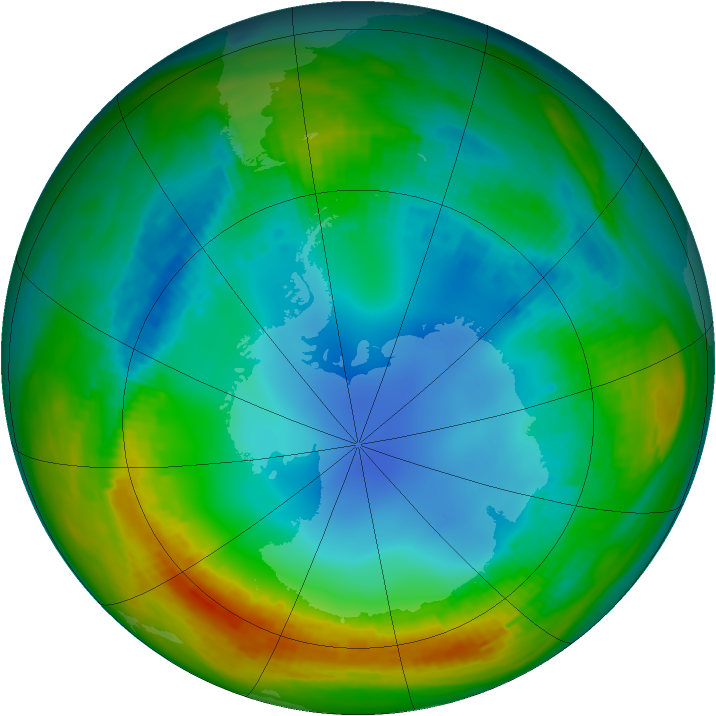 Antarctic ozone map for 31 July 1988