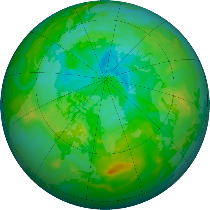 Arctic ozone map for 06 August 1988