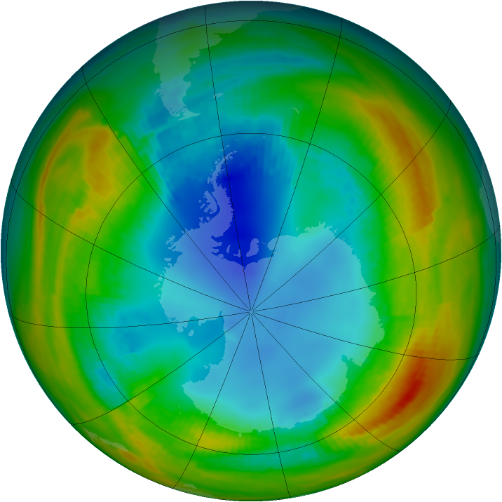 Antarctic ozone map for 08 August 1988