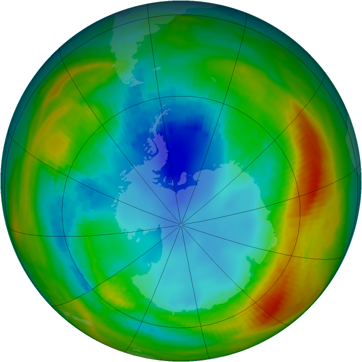 Antarctic ozone map for 09 August 1988