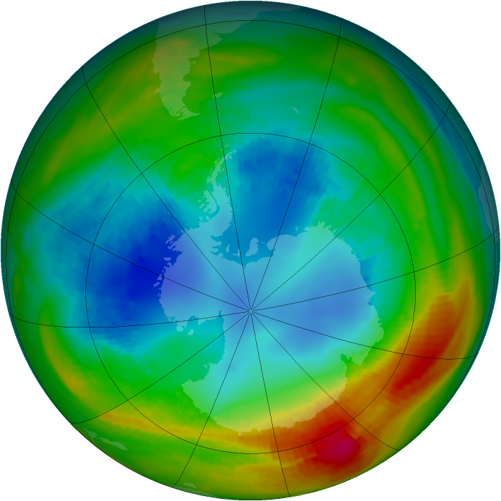 Antarctic ozone map for 14 August 1988