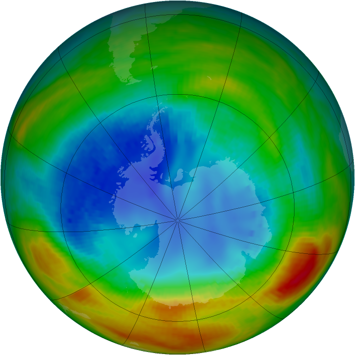 Antarctic ozone map for 19 August 1988