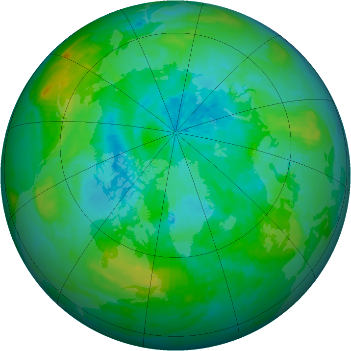 Arctic ozone map for 20 August 1988