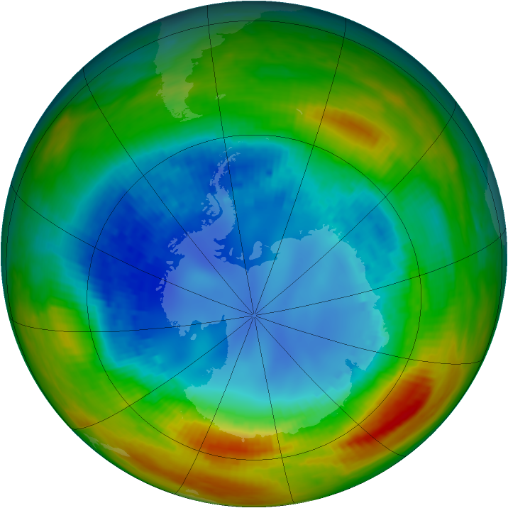 Antarctic ozone map for 20 August 1988