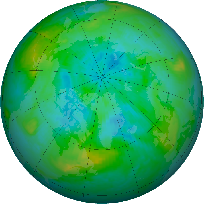 Arctic ozone map for 21 August 1988