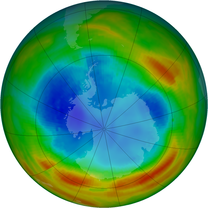 Antarctic ozone map for 21 August 1988