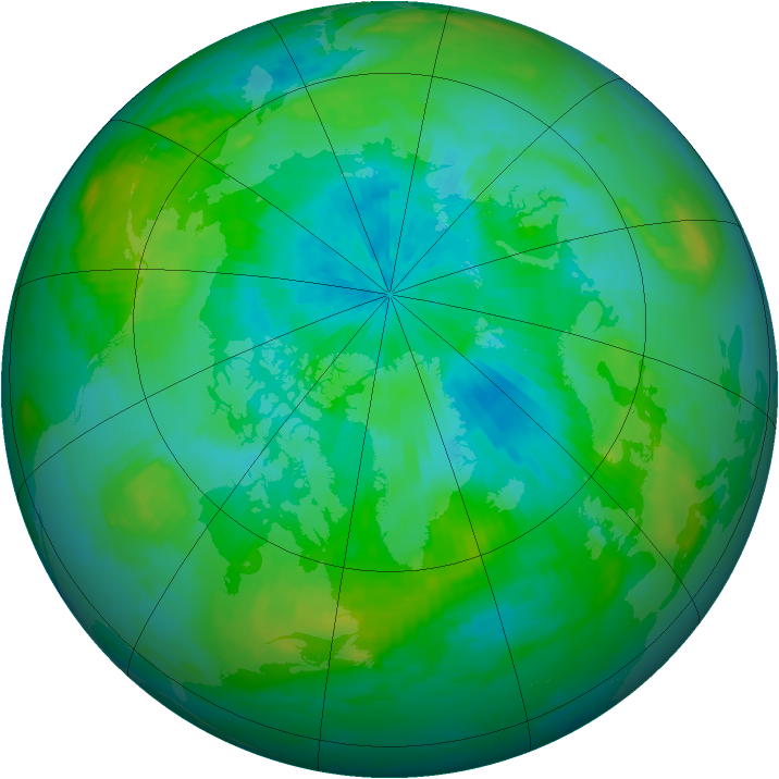 Arctic ozone map for 22 August 1988