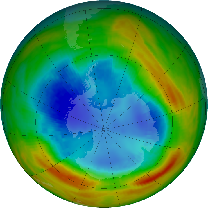 Antarctic ozone map for 22 August 1988
