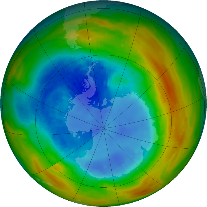 Antarctic ozone map for 24 August 1988