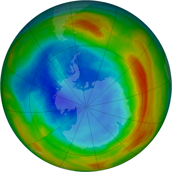 Antarctic ozone map for 25 August 1988
