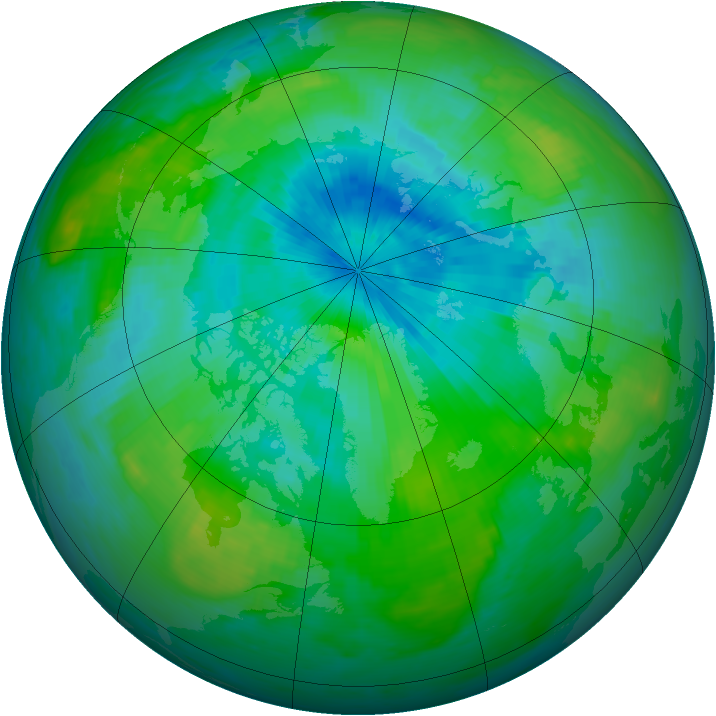 Arctic ozone map for 26 August 1988