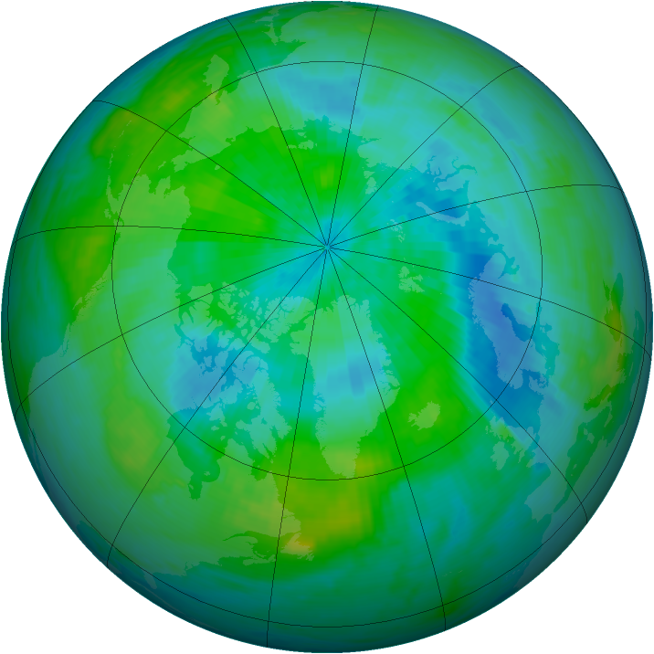 Arctic ozone map for 08 September 1988