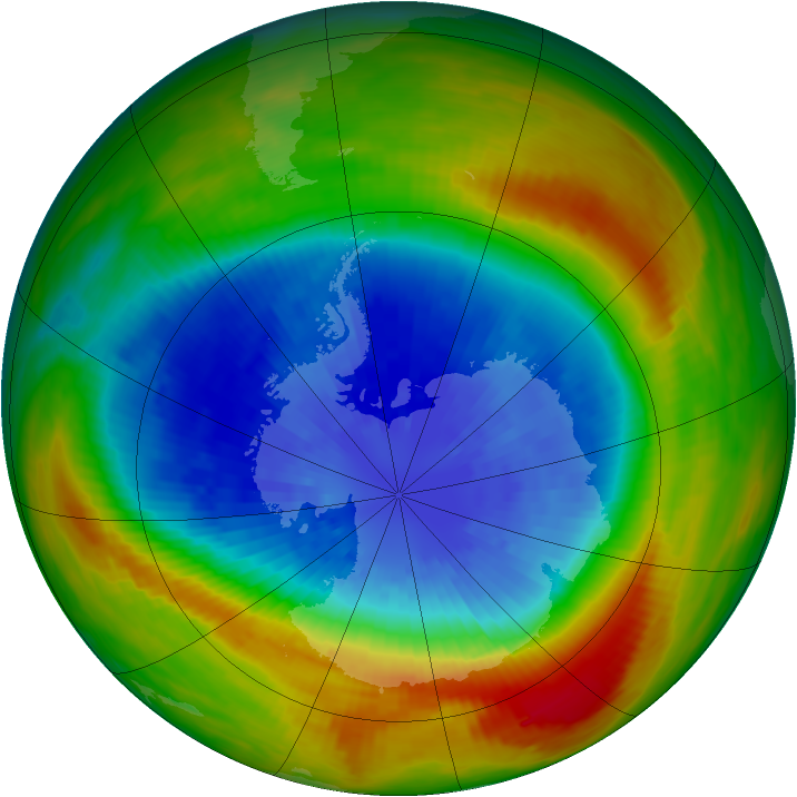 Antarctic ozone map for 18 September 1988