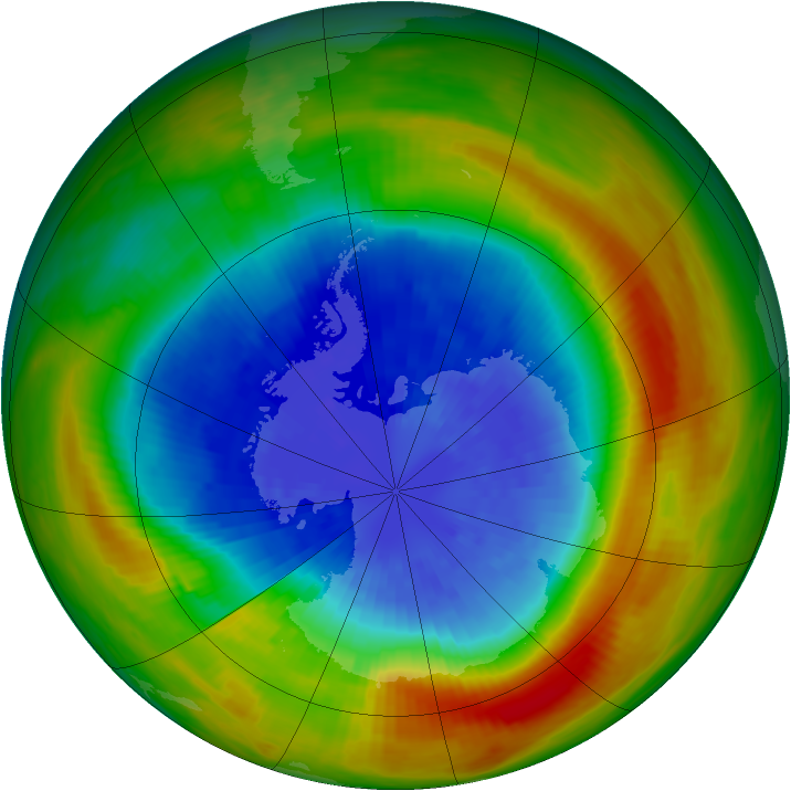 Antarctic ozone map for 20 September 1988
