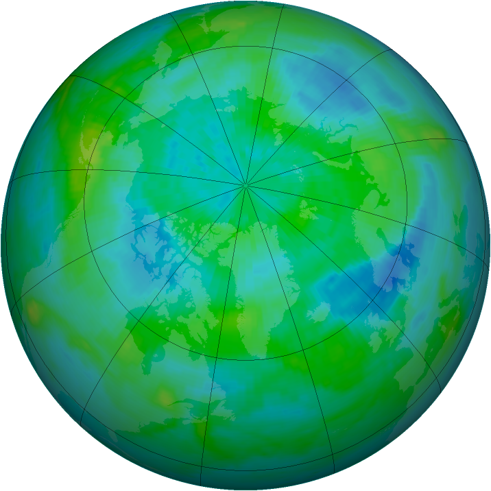 Arctic ozone map for 21 September 1988