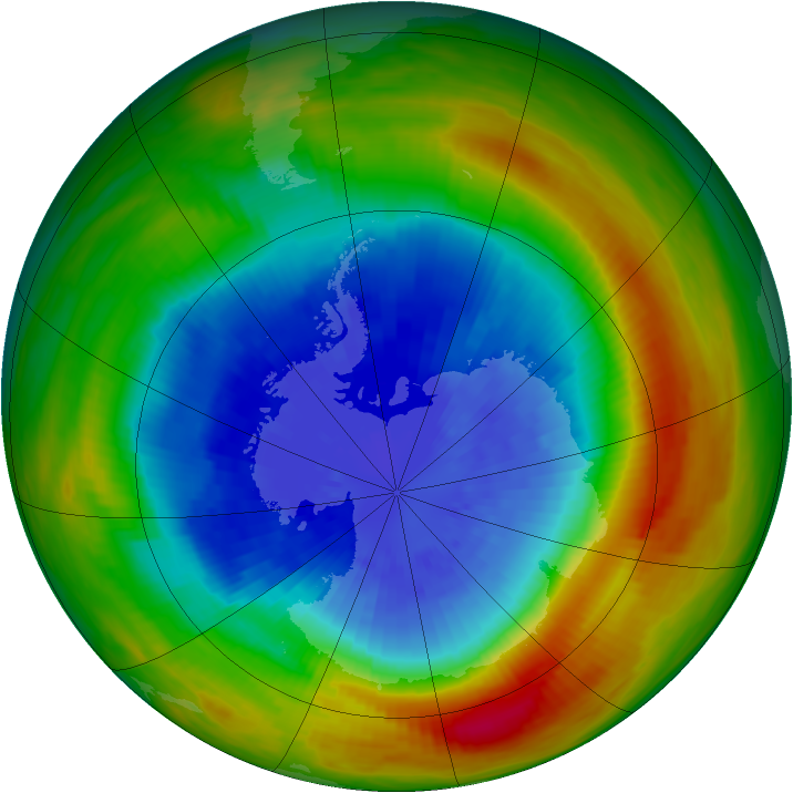 Antarctic ozone map for 21 September 1988