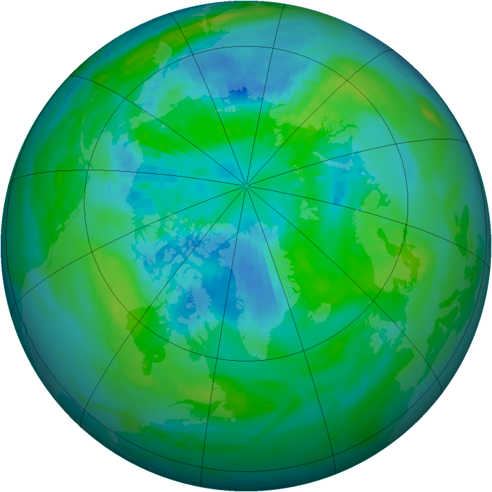 Arctic ozone map for 25 September 1988