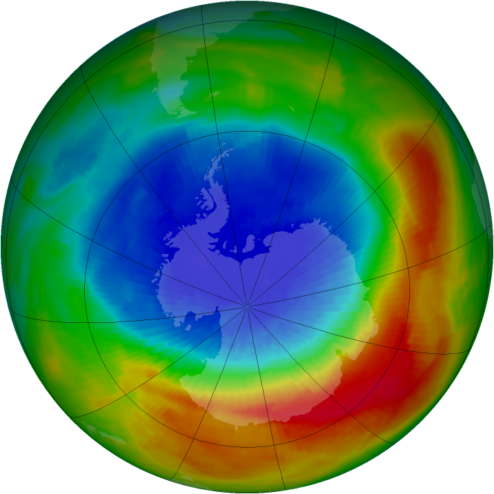 Antarctic ozone map for 25 September 1988