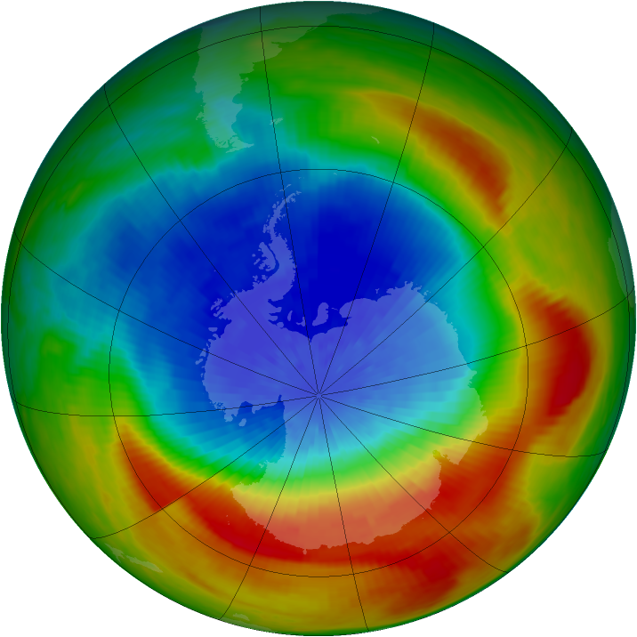 Antarctic ozone map for 27 September 1988
