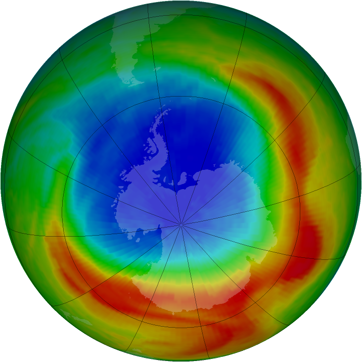 Antarctic ozone map for 28 September 1988