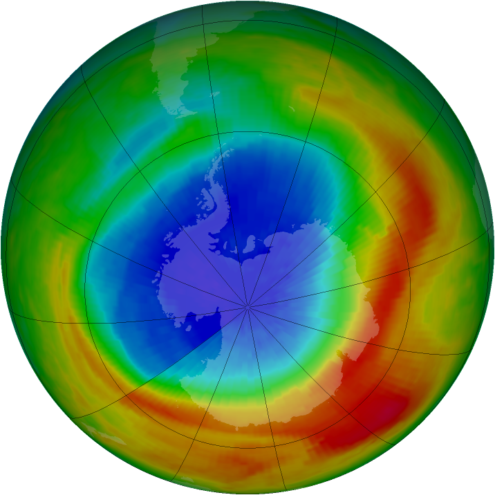 Antarctic ozone map for 30 September 1988