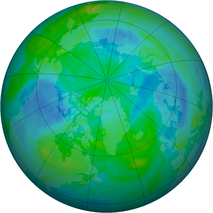 Arctic ozone map for 03 October 1988