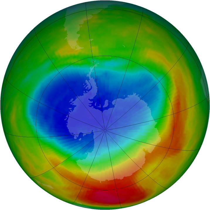 Antarctic ozone map for 03 October 1988