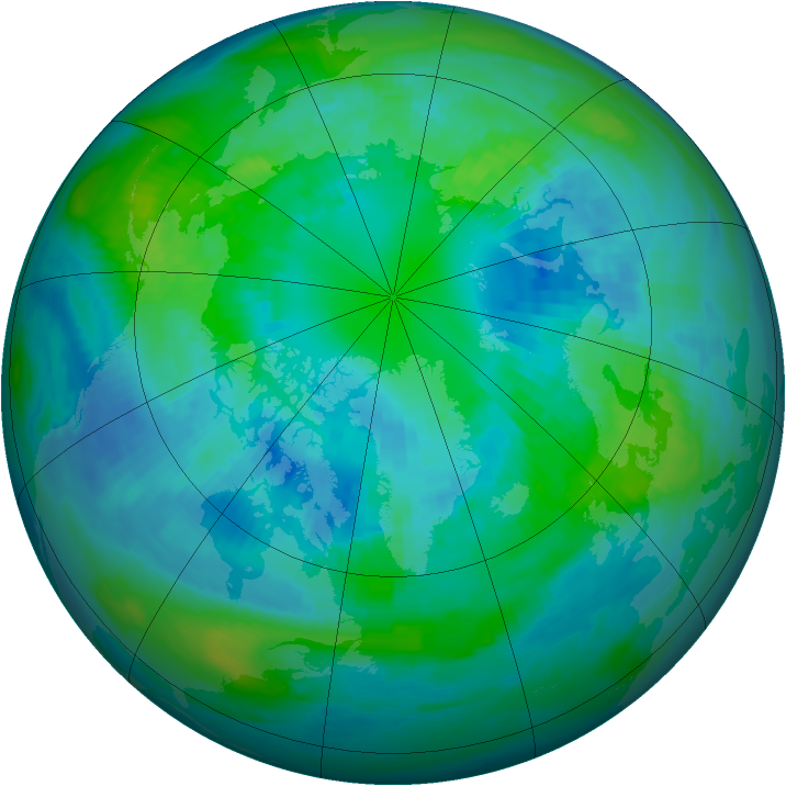 Arctic ozone map for 08 October 1988