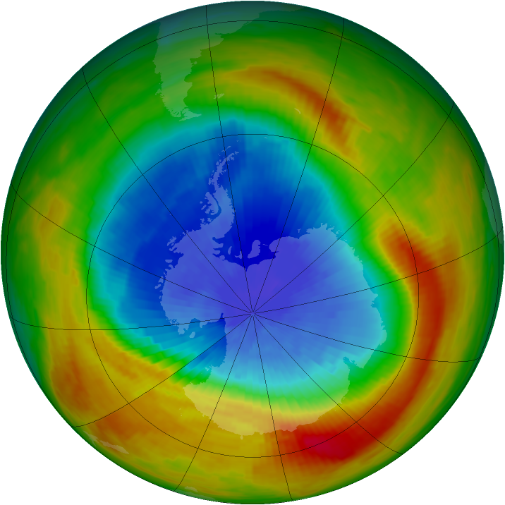 Antarctic ozone map for 08 October 1988