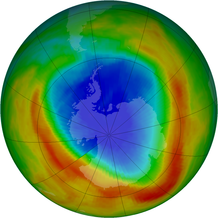 Antarctic ozone map for 11 October 1988