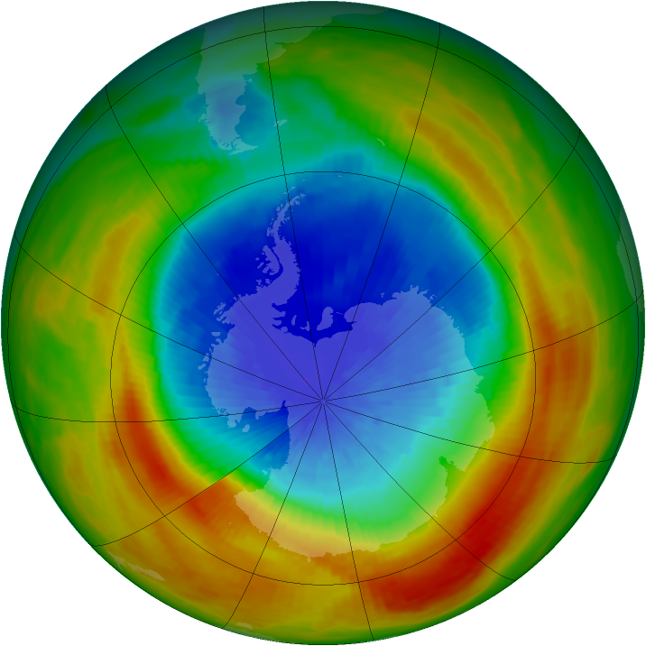 Antarctic ozone map for 12 October 1988