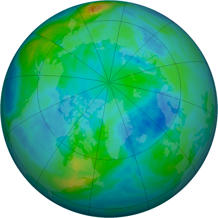 Arctic ozone map for 13 October 1988