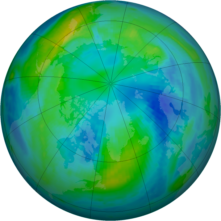 Arctic ozone map for 16 October 1988