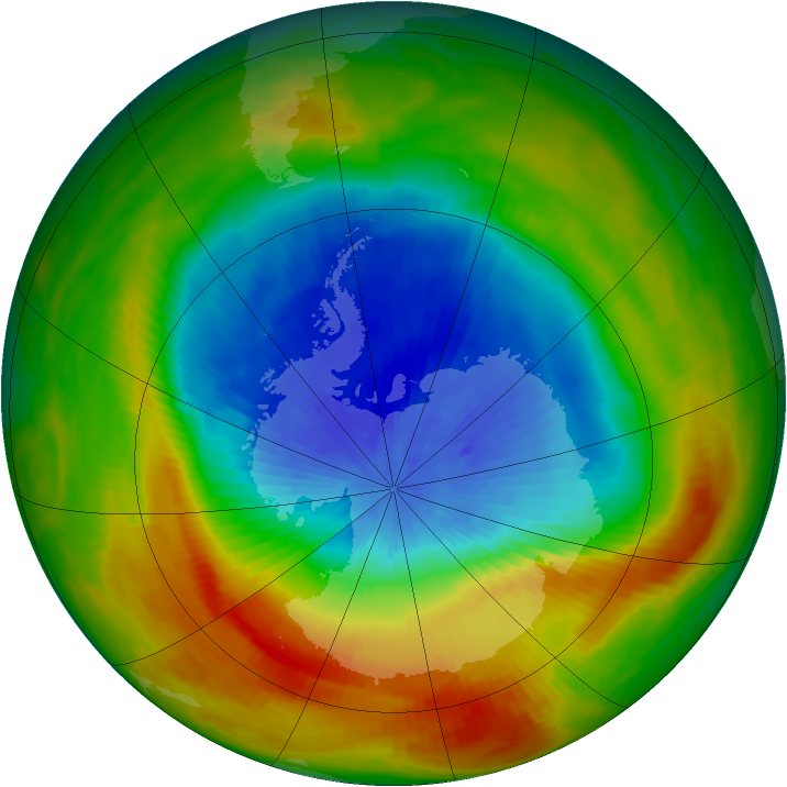 Antarctic ozone map for 19 October 1988