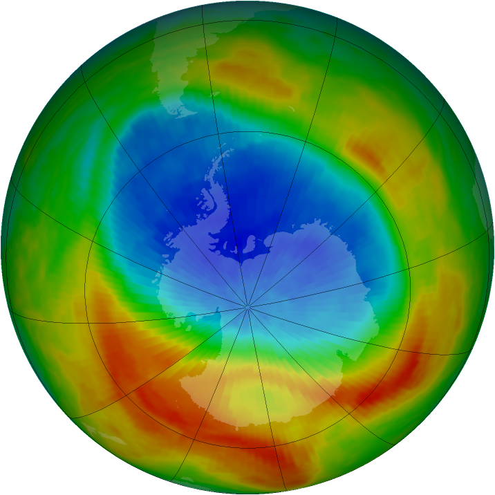 Antarctic ozone map for 20 October 1988