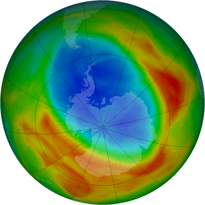 Antarctic ozone map for 22 October 1988