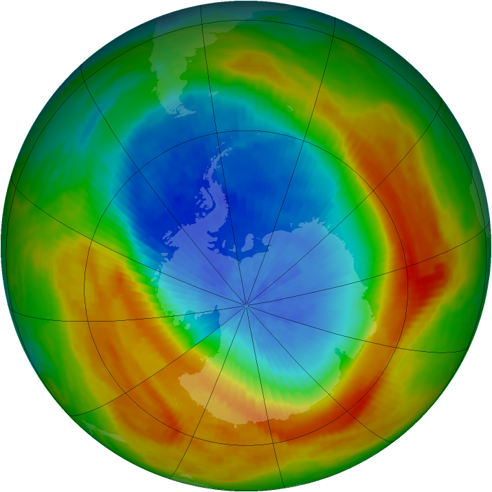 Antarctic ozone map for 23 October 1988