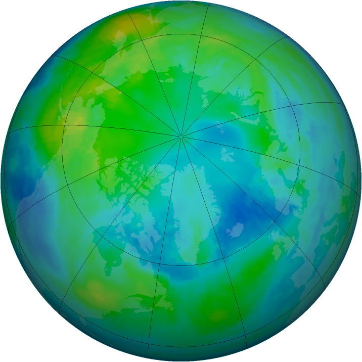 Arctic ozone map for 24 October 1988