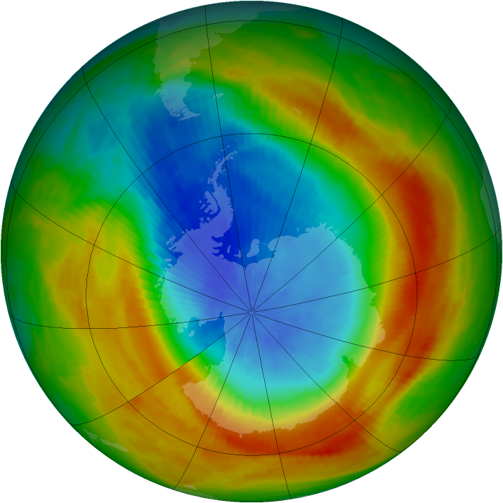 Antarctic ozone map for 24 October 1988