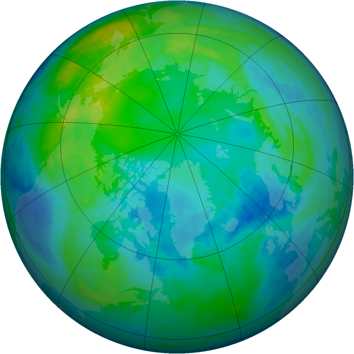 Arctic ozone map for 25 October 1988