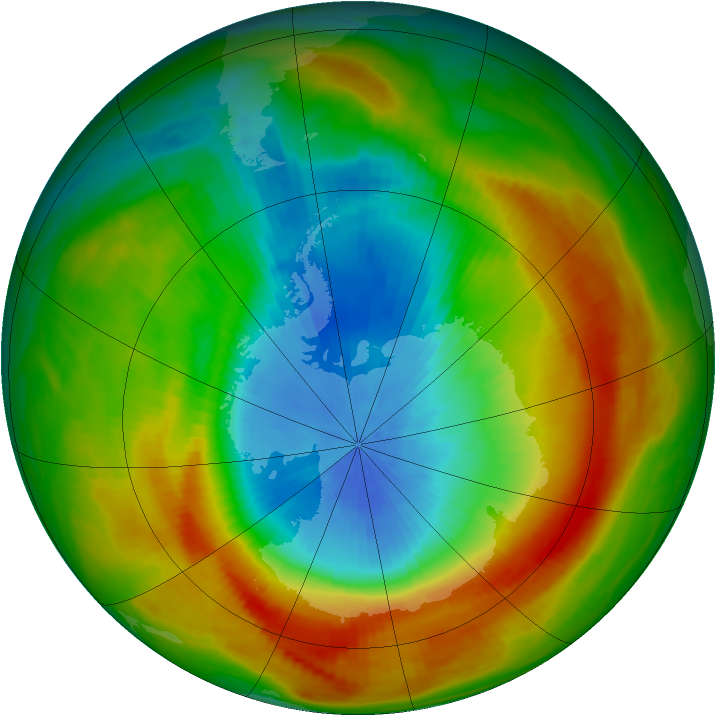 Antarctic ozone map for 26 October 1988