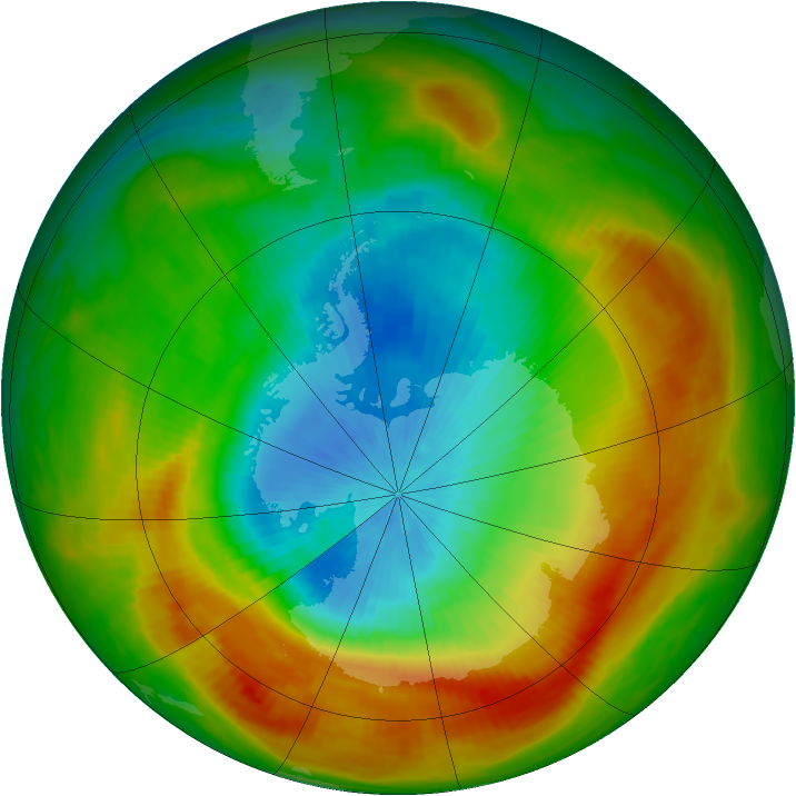 Antarctic ozone map for 27 October 1988