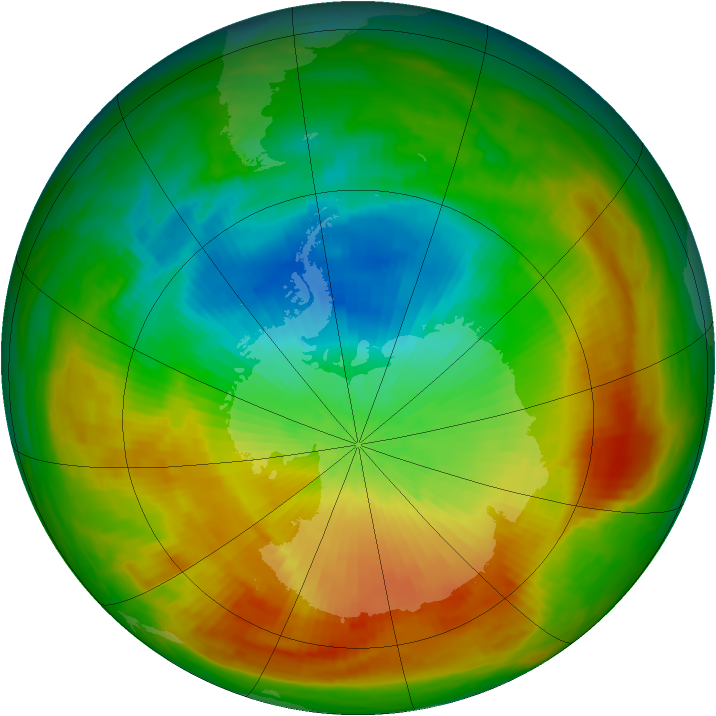 Antarctic ozone map for 30 October 1988
