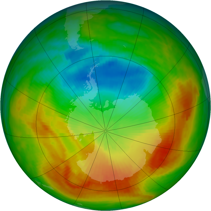 Antarctic ozone map for 31 October 1988