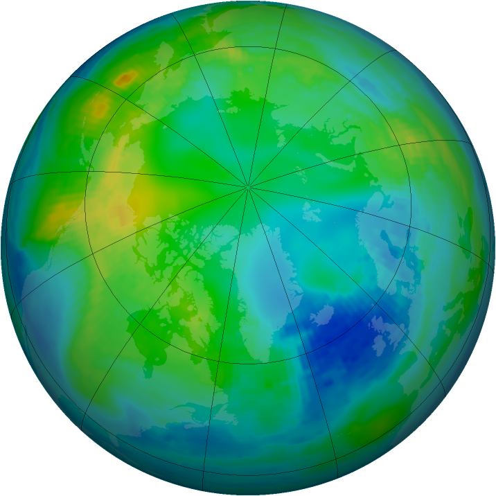Arctic ozone map for 05 November 1988