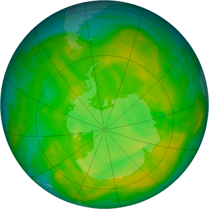Antarctic ozone map for 06 December 1988